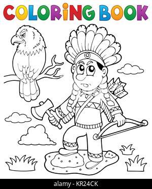 Livre de coloriage thème indien image 2 Banque D'Images