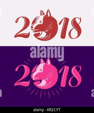 2018, nouvelle année heureuse. Symbole de chien. La conception typographique vector illustration Banque D'Images