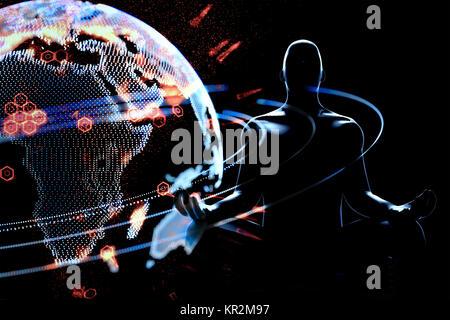 La communication et l'informatique l'intelligence artificielle (IA) la technologie perturbatrice tout ce concept. Banque D'Images