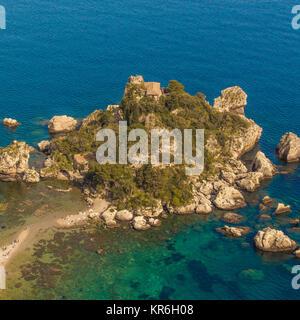 Sicile: Vue aérienne de l'île Isola Bella
