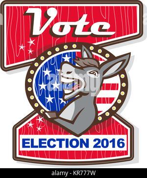 Élection 2016 âne démocrate Vote Mascot Cartoon