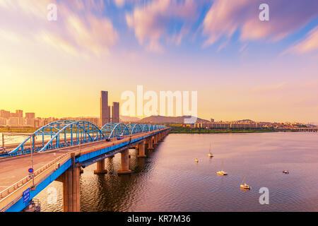 Vue aérienne de la ville de Séoul, Corée du Sud. Banque D'Images