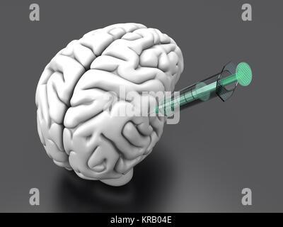 L'injection de substances dans des seringues d'un cerveau humain. Banque D'Images
