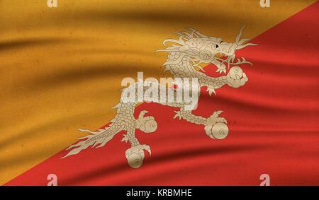 Vintage avec le drapeau du Bhoutan. Grunge style. Banque D'Images