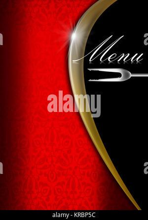 Le velours rouge avec fond transparent floral orné d'or et de metal wave, modèle pour un menu élégant Banque D'Images