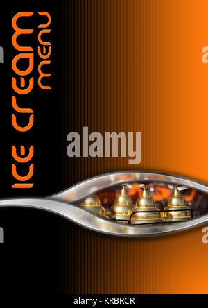 Noir, Orange et fond métal avec détail d'un panier de la crème glacée. Modèle pour un menu de la crème glacée Banque D'Images