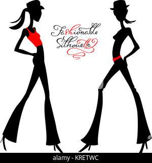 Silhouette vecteur de mode filles top modèles
