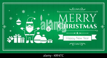 Ensemble d'icônes de Noël dans internet bannière dans l'illustration vectorielle. Icône de Bell, l'ensemencement, arbre de Noël, les rennes, présent, Père Noël, bonhomme de neige. Le tem