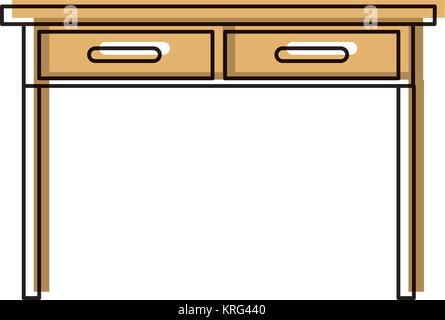 Table Bureau avec tiroirs vue avant de l'icône silhouette aquarelle Banque D'Images