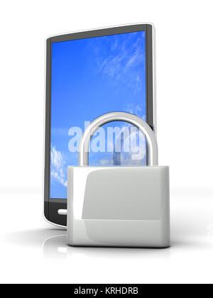 Un smartphone verrouillé. Rendu 3D illustration isolé sur blanc. Banque D'Images