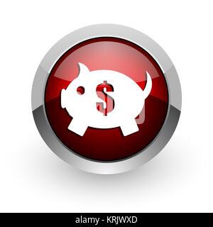 Tirelire cercle rouge brillant web icon Banque D'Images