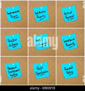 Collage d'acronymes d'affaires écrit sur papier Remarque