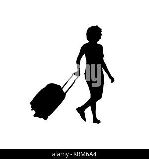 Femme avec bagages Silhouette isolated on White Banque D'Images