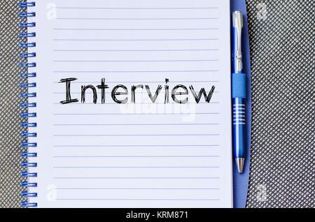 Texte de l'entrevue sur le portable concept Banque D'Images