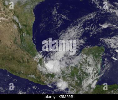 Cette image visible des restes de l'Ouragan Barbara fut capturé à 1432 UTC (10:32 HAE) par la NOAA GOES-14 chaînes Banque D'Images