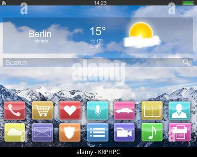 Close-up of Digital Tablet Showing Écran d'accueil