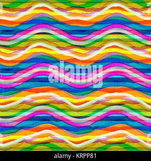Rayures ondulées colorées Modèle transparent Banque D'Images