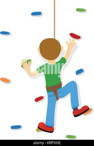 Rock climber garçon - à la salle d'escalade Banque D'Images