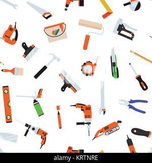 Modèle transparent avec des outils pour la réparation. Vector illustration. Rouleau, pinceau, peinture, crayon, Banque D'Images