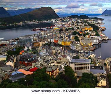 Alesund de Aksla Hill. La Norvège. Banque D'Images