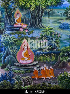 L'art bouddhiste murale thaï Banque D'Images