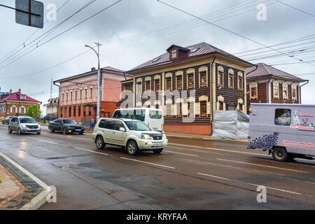 Irkoutsk, Russie - Août 14, 2017: Avis de vieilles maisons en bois sur Sedova street Banque D'Images