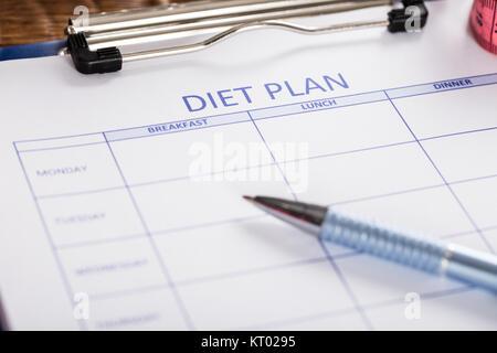 Close-up du formulaire de plan de régime Banque D'Images