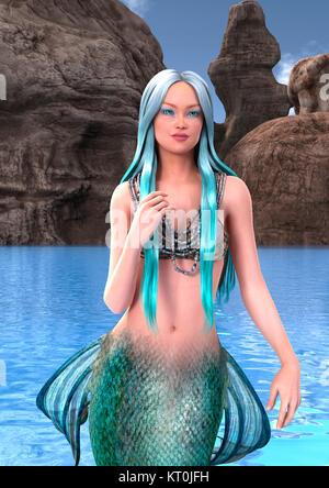 Le Rendu 3D Fantasy Mermaid Banque D'Images