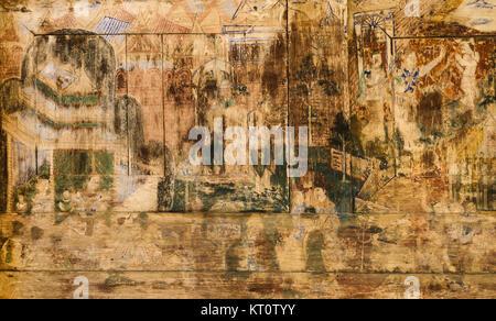 Thai ancienne peinture murale sur le mur du temple en bois Banque D'Images