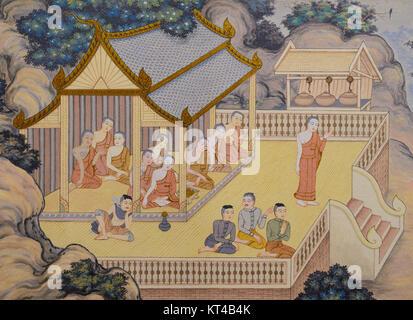Temple bouddhiste la peinture murale en Thaïlande Banque D'Images