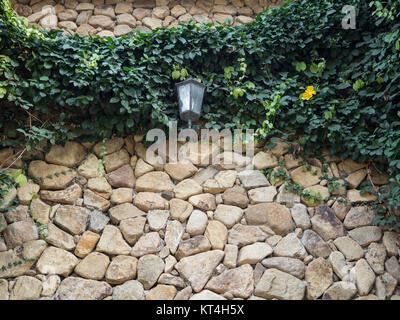 Une lampe sur le mur de brique d'un gazon sur le mur
