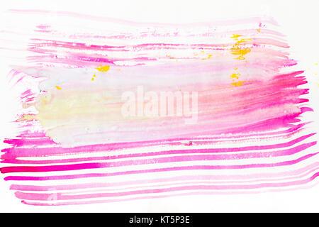La peinture abstraite avec des rose, violet et jaune les coups de pinceau on white Banque D'Images
