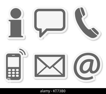 Contactez-nous, ensemble de six icônes de couleur gris avec cadre blanc et ombre