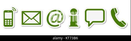 Contactez-nous, ensemble de six icônes de couleur verte avec cadre blanc et ombre