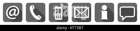 Contactez-nous, ensemble de six icônes blanches dans les cases grises