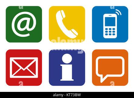 Contactez-nous, ensemble de six icônes blanches dans les boîtes colorées