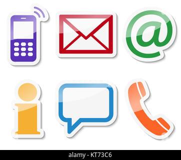 Contactez-nous, ensemble de six icônes de couleur avec cadre blanc et ombre