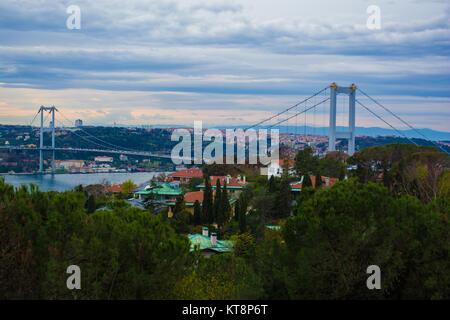 Pont du Bosphore avec ciel nuageux ciel bleu à Istanbul TURQUIE Banque D'Images