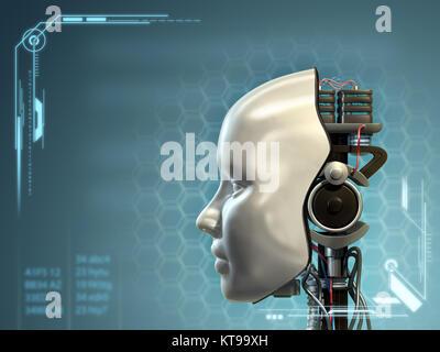 Une partie d'android a retiré son masque de tête, révélant sa technologie de l'intérieur. Illustration numérique. Banque D'Images