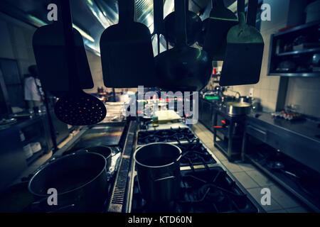 Restaurant Chef à garnir légumier, récolte sur les mains, image filtrée Banque D'Images
