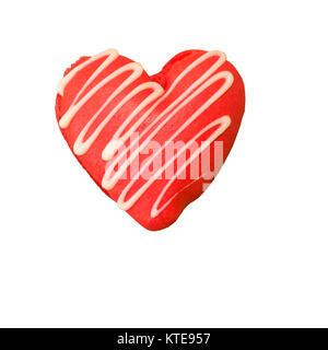 Macaron en forme de coeur arrosées de chocolat blanc Banque D'Images