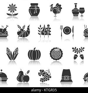 Jour de Thanksgiving motif transparent. Silhouette noire avec la réflexion sur l'illustration vectorielle, blanc. Banque D'Images