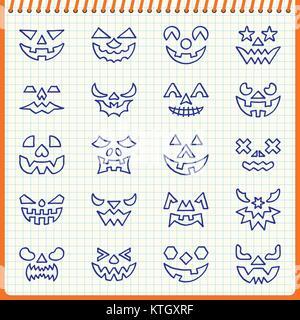 Ligne visage Citrouille Halloween icon set. Effet de plume manuscrite sur fond à carreaux. Vector illustration style Banque D'Images
