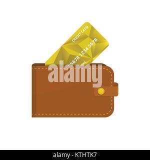 Etui en cuir avec carte de crédit Banque D'Images