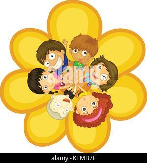 Cercle Firendship avec de jeunes enfants Banque D'Images