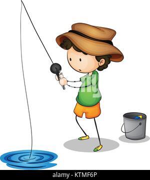 Illustration d'un jeune pêcheur Banque D'Images