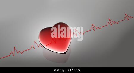Battement de coeur forme. comme des antécédents médicaux, 3d illustration Banque D'Images
