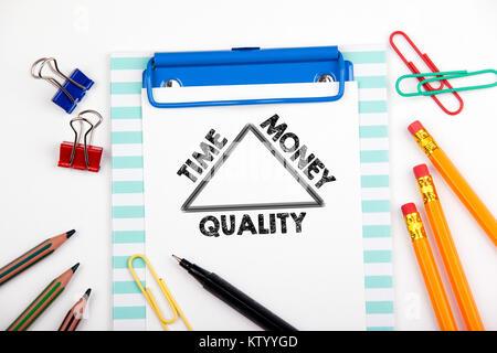 Temps, d'argent et de concept de qualité. White Bureau Bureau avec modèle Banque D'Images