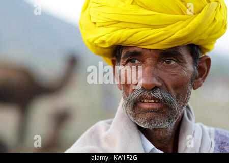 Scène à Pushkar Camel Fair, portrait d'homme en turban jaune, Pushkar, Ajmer, Rajasthan, Inde Banque D'Images