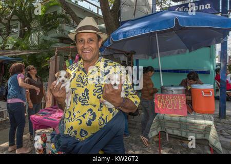 Homme avec une paire de chiots, Ajijic, marché du lac Chapala, Mexique Banque D'Images